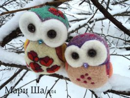 Owl family:  Mom and Dad by MaryShaa