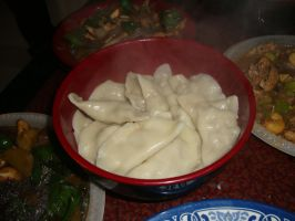 Finished dumplings by Laura-in-china