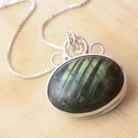 Stripey Labradorite Pendant by metalsmitten