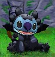 stitch as toothless finished by stitch-blue