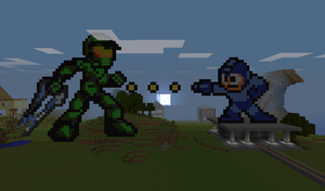 Master Chief VS Megaman by Whatgun