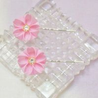 Pink Cherry Blossom Kanzashi Pair 178 by japanesesilkflowers