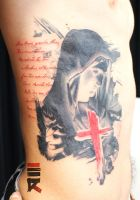 Saint Mary with cross in trash polka style by enhancertattoo