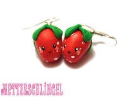 Laughing Strawberries Earrings by Metterschlingel