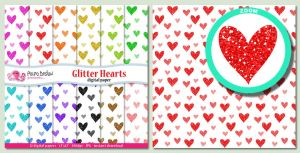 Glitter Hearts digital papers by PolpoDesign