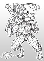 Fulgore vs Cyrax lineart by TheInsaneDarkOne