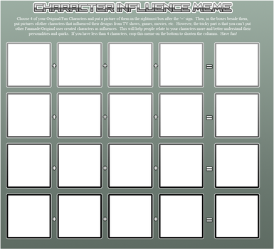 Character Influence Meme (blank) by DanSyron