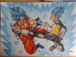 Goku vs Vegeta by NatusiiaArt