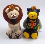 King Lion and Queen Bee Wedding Cake Topper by HeartshapedCreations
