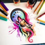 Tribal Watercolor Wolf by Lucky978