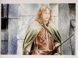Watercolor Faramir by nikkiburr