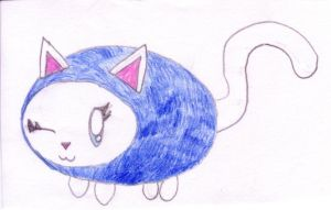White and Blue Cat by RaspberryFanta
