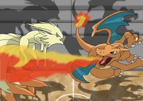 Nintales vs Charizard by ShennyX