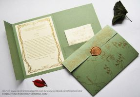 Wedding Card: LOTR Green and Gold by MentaDesigns