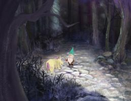The Gnome and The Unicorn With A Lazy Horn by xiaomei