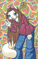 psychedelic hippie kitty by obliviousally
