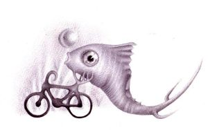 A fish with a bicycle by 8025glome