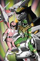Pink and Green Power Rangers Print by palmaay