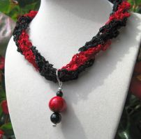 Crochet ladder ribbon necklace in red and black by doilydeas