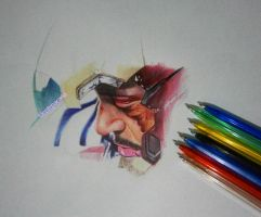 Colored Ballpoint pen drawing Tony Stark,wip by cLoELaLi11