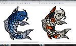 Koi fish embroidery pattern WIP by goiku