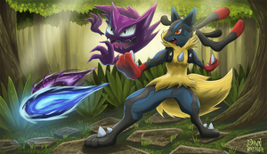Training with Friends - Haunter and M-Lucario by DawnbreakerDESIGNS