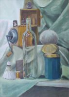 The bottle, the metal box and a coffee grinder by KonaRos