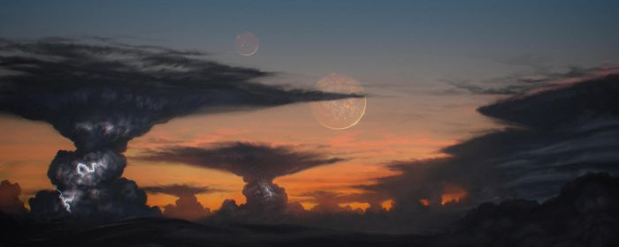 Volcanic moons by JustV23