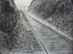 Railroad Between the Rocks by FireheartTheInferno