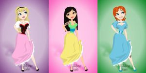 Pin Up Princesses V: Eilonwy, Mulan, Wendy by silverypavement