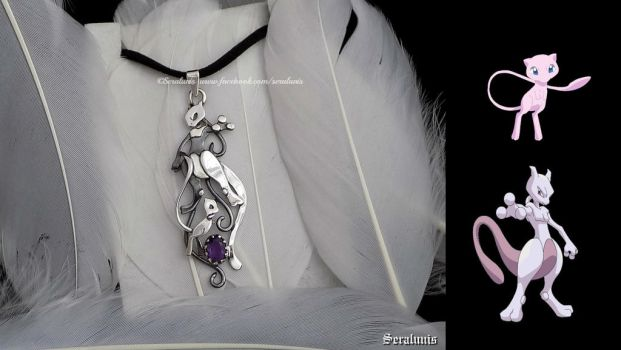'Mewtwo and Mew', sterling silver pendant by seralune