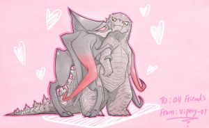 Godzilla x Femuto : Valentine card by SugarBeasts-07