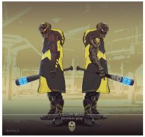 yellow skull gang member by dleoblack