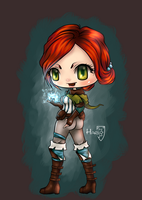 Triss Merigold WitcherII chibi fanart by HarukArt