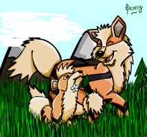 Growlithe and Arcanine by Leafeony
