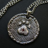 PawPrint pendant - custom order by Dark-Lioncourt