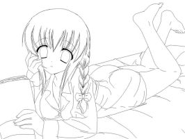 Studying -lineart- by Amu---Chii