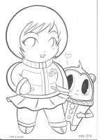 Chibi Chie and Kuma a.k.a Teddie by ChibiCelina