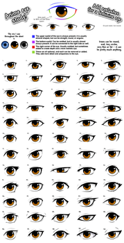 Anime eye styles by PinkFireFly