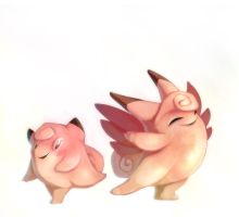 Clefairy and Clefable by francis-john