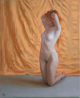 Kneeling, Stretching Nude. by LordSnooty