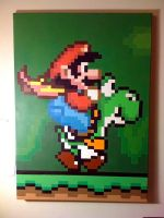 Mario and Yoshi Pixel Painting by IvanDashSmith
