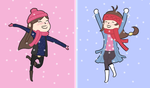 Ema and Trucy love the snow by magical-bra