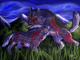 Fighting Wolves by Kosmik90