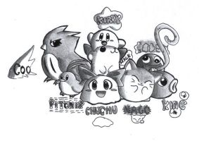 Kirby and his friends by Fushidane
