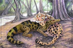 The Caiman and the Jaguar by MoonsongWolf