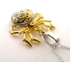 Gold clockwork spider pendant by SteamSect