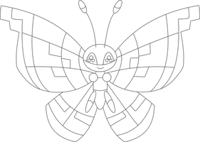 Lineart of Vivillon with the marine pattern by InuKawaiiLover
