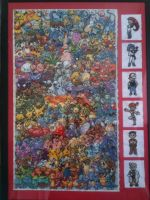 Mounted and Framed Epic Pokemon Cross Stitch by sfxbecks