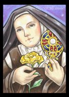 Saint Therese and Yellow Rose by natamon